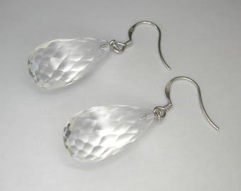 Quartz crystal earrings, Briolette drop earrings