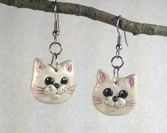 Cat Earrings, Cute White Cats, Polymer Clay Cats,  Cat Lovers, Lightweight Dangles, Women, Teens