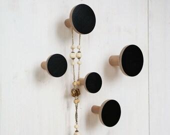5 Wooden wall hooks / jewelry holders BLACK / coat hooks / wall decor / coat rack / modern home decor / made by LivingIdea / entryway hooks