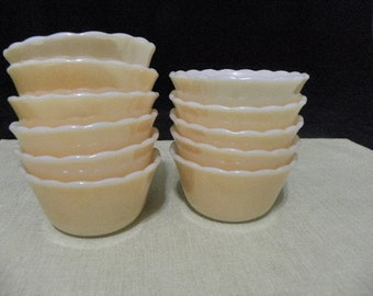 Vintage 11 Fire King Peach Luster Mamekins Custard Cups Bowls Scallop Edge