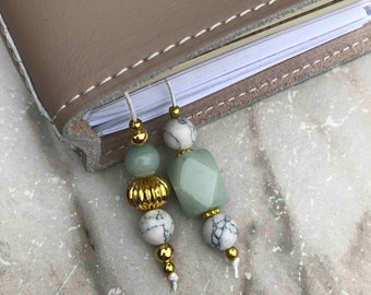 BEADED BOOKMARK for Travelers Notebooks | Planners | Journals | Books GREEN marble with gold accents