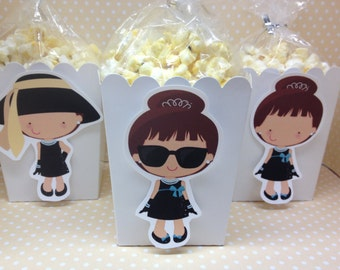Breakfast at Tiffanys, Classic Movies Popcorn or Favor Boxes - Set of 10