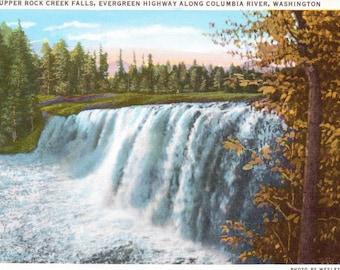 Upper Rock Creek Falls, Evergreen Highway, Columbia River, Washington - Vintage Postcard - Postcard -  Unused (WWW)