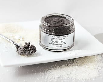 Coconut Charcoal Face Scrub for Men   Mens Grooming   Father's Day Gift, Gifts for Dad   100% natural and vegan scrub for men - TRAVEL SIZE