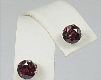 Memorial Day Sale Rhodolite Garnet 6mm Sterling Silver Gemstone Stud Earrings Natural Untreated