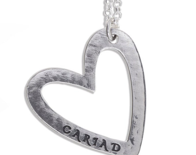 Cariad heart pendant silver – Sterling silver open heart pendant - Hand Made in UK