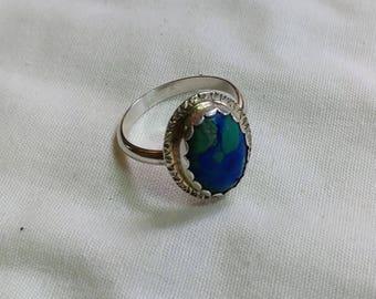 Azurite malachite cabochon Sterling silver ring.   jewelrybyjohndesign