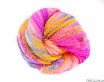 Art Batt / Spinning Fiber - Superwash BFL Reclaimed Silk threads Vegan Cashmere - Crazy Soft