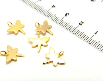 """Mini Gold Plated Charm, 5pcs 0.47"""" Gold Plated Dragonfly Charm, Brass Metal Pendant Charms, Tiny Gold Charm Findings, Gold Plated Charms"""