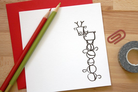 5 x 5 Christmas card // reindeer // red //holiday gift // notes