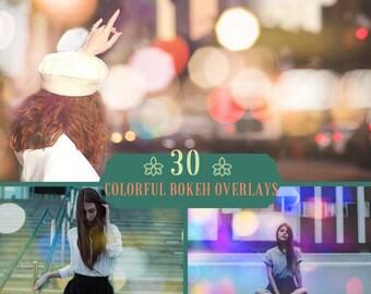 30 Colorful Bokeh Overlays,Photoshop Overlays, Bokeh Overlays, Sparkle Overlay, Photoshop Overlays, City Lights Bokeh, Lights Overlay