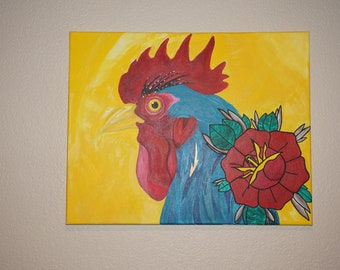 Original rooster painting in acrylic.