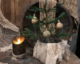 Primitive Gourd Bowl Feather Tree Spinner Gourd Ornaments Early Look Cupboard Tuck Homestead #2