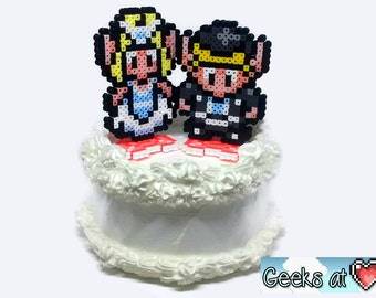 Link and Zelda Bride and Groom Wedding Cake Toppers - Front and Back Two-Sided Figures - Cute!