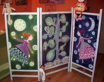 screen room folding, room divider, cotton screen - Happy Girl - Hand painted cotton, hot batik, wooden frames