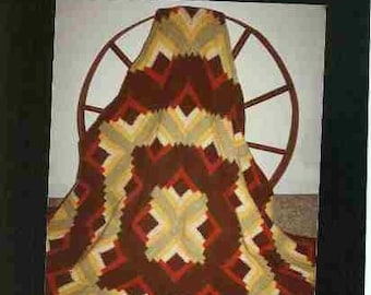 Log Cabin Afghan Crochet Pattern in Patchwork