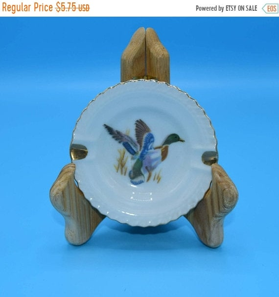 Delayed Shipping Duck Small Ashtray Vintage Game Bird Hunting Ashtray Man Gift Bar Collectable Miniature Porcelain Ceramic Tobacciana Catcha