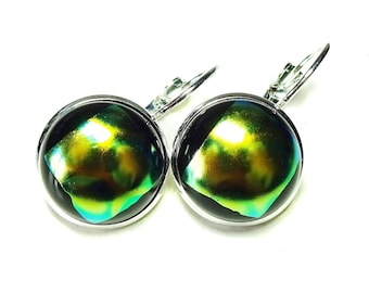 Dichroic Glass Lever Back Earrings - Green, Yellow & Black