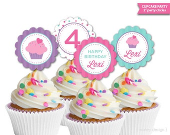 Cupcake Party Toppers Printable Baking Party Birthday Sprinkle Cupcake Decor Girls Birthday Cupcake Printables Cupcake Decorations