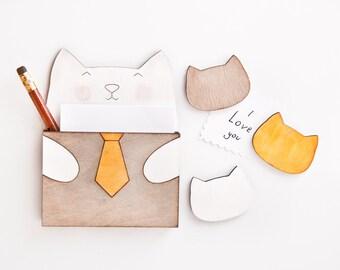Gray Kitchen Decor Cat Fridge Magnets, To Do List Planner Shopping List Holder, Gray Refrigerator Magnet, Housewarming Gifts, Cat Lover Gift