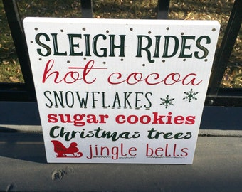 Sleigh Rides Subway Christmas Wood Sign - Christmas Sign - Christmas Decor - Holiday Decor - Christmas Gift - Christmas Theme Sign