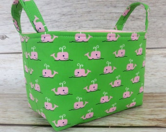 READY TO SHIP - Fabric Organizer Storage Bin Container Basket - Pink Whales on Green Fabric - Nursery Baby Room Decor