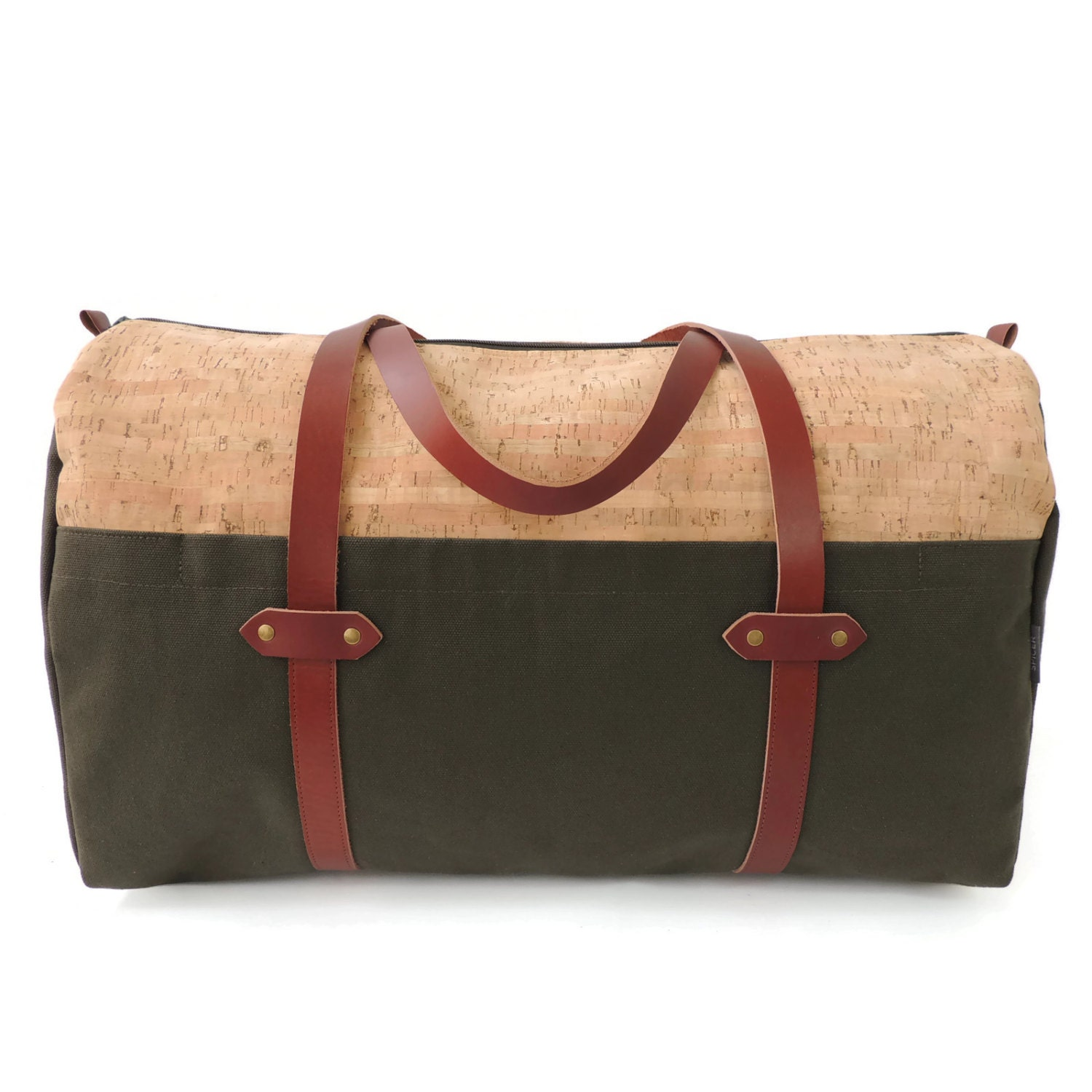 Weekender Bag in Cork and Canvas with Leather Strap    Olive Green Duffle    Unisex Travel Bag    Made in USA by Spicer Bags