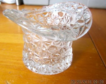 Cut glass tophat clear, heavy vintage