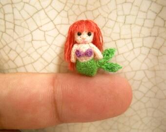 Micro Mini Mermaid -  Amigurumi Crochet Tiny doll - Made To Order