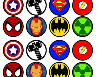 Superhero Edible Wafer Rice Paper Cake Cupcake Toppers x 24