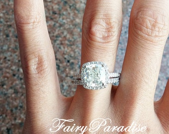 3 Carat Cushion Halo Engagement Ring, Cushion Cut Bridal Set, Wedding Ring, Promise Ring, Man Made Diamond Alternative Ring, Free Ring box