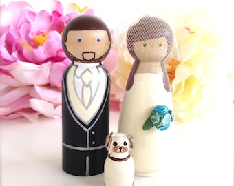WEDDING TOPPERS with Pet Custom Wedding Cake Topper Bride and Groom 1 Pet Cat Dog Custom Peg Doll Wooden Cake Topper People Topper