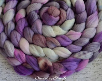 Merino 'Sugared Violets' 4 oz combed top, wool roving by the pound hand dyed roving, Created by Elsie B spinning fiber, purple, violet, mint