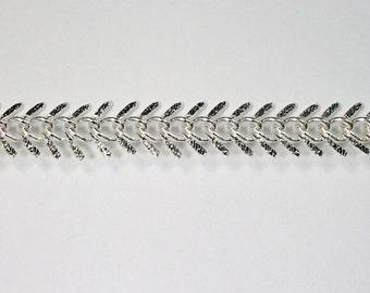 Bright Silver, 14mm Fishbone Chain #CC88