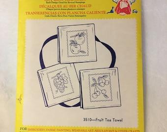 Vintage Aunt Martha'sFruit Tea Towel Hot Iron Transfers