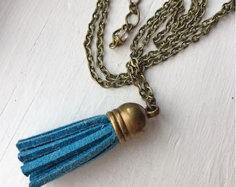 Antique Brass Necklace with Blue Leather Tassel Pendant