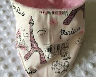 Personalized REVERSIBLE Baby Bandana Bib /Bibdana / Choose Organic Bamboo or Minky / Glitter Pink Paris Eiffel Tower
