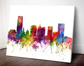 Oklahoma City Skyline Canvas Print, Oklahoma Cityscape, Oklahoma City, Oklahoma Art Print, Home Decor, Gift Idea, USOKOC06C