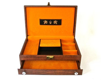 Vtg Jewelry Box Large Size Lockable Faux Wood Grain Mustard Yellow Gold and Black
