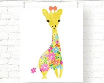 Sweet - Floral - Giraffe - Jungle - Baby - Nursery - Kids - Watercolor - Art Print - Wall Art