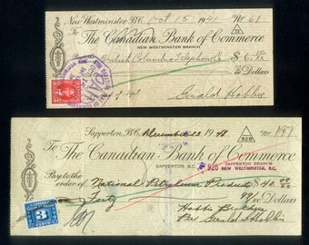 Two Vintage Cheques / Checks - 1940's and 1950's - Collage, Scrapbooking, Crafts