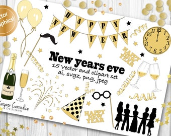 NYE clipart set, NYE vector set, new years vectors and clipart, new years eve party clip art in ai, auld lang syne, in svgz, png and jpeg