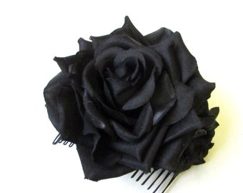 Black Rose Flower Hair Comb Fascinator Floral Headpiece Vintage Rockabilly 1517