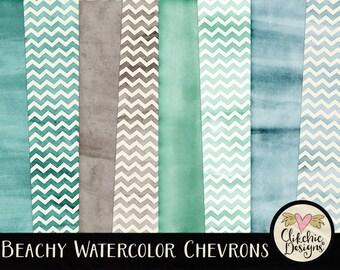Watercolor Digital Paper Pack - Chevron Beachy Watercolor Digital Scrapbook Paper - Beach Chervron Themed Textures, Watercolor Paper Pack