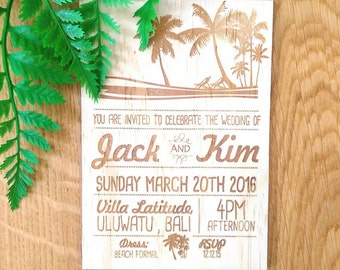 Tropical Wedding invitation, summer love design.  Laser Etched Wooden Invitation. A6 size - sample only