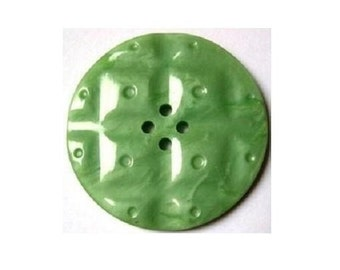 2 Vintage buttons, beautiful green plastic buttons, large, 34mm