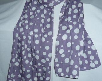 Large purple scarf cotton blend printed unbleached peas