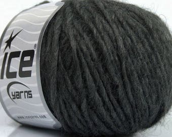 Peru Alpaca Worsted Yarn Dark Grey #48975 Ice Merino Wool Alpaca Acrylic 50g 98y