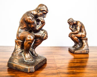 Vintage 1920s Bronze Clad Rodin The Thinker Bookends Figural Library Book Ends