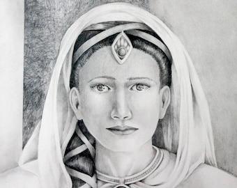 Priestess,  Print of original graphite drawing by Brenda Foreman
